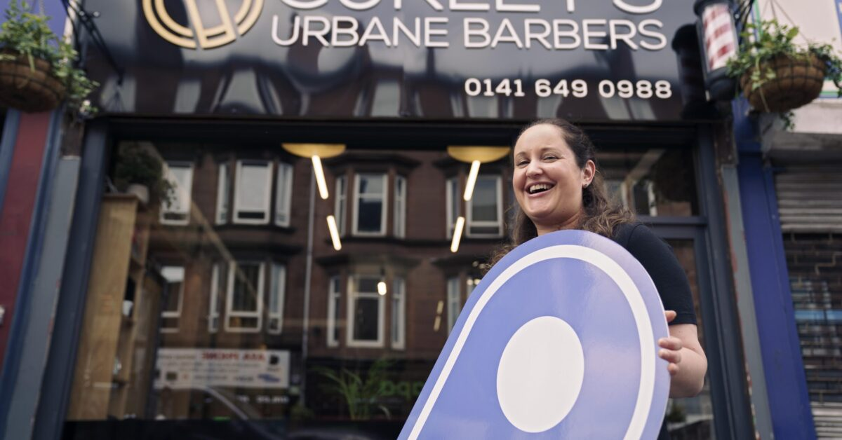 Free first use: Karina Curley, proprietor of Curley's Urbane Barbers (ALL CORRECT), on Minard Road, Shawlands, Glasgow. The business is one of several in Shawlands promoting the Scotland Loves Local campaign, encouraging people to choose local and back businesses in their community as part of the national recovery from the Covid-19 pandemic. The campaign is spearheaded by Scotland's Towns Partnership.  Media enquiries to Chris Story on 07375 065 728 / chris@messagematters.co.uk
